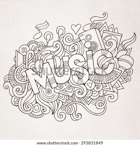 Music hand lettering and doodles elements and symbols background. Vector hand drawn sketchy illustration - stock vector