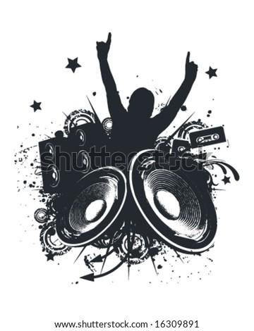 Music Hands Up Vector Illustration - stock vector
