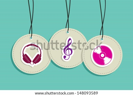 Music hang tags icon set background. Vector file layered for easy manipulation and custom coloring. - stock vector