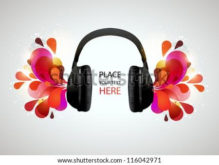 Music headphones on gray background. Vector illustration. - stock vector