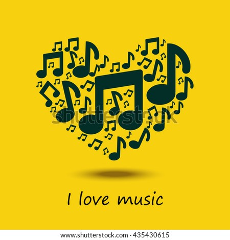Music heart. Love concept. - stock vector