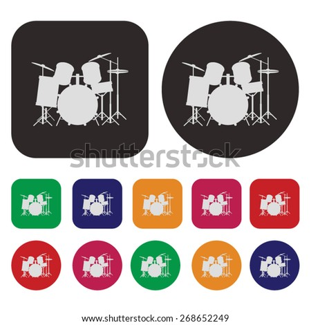 Music icon / Drums icon - stock vector