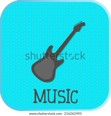 Music icon. guitar silhouette on blue background. vector illustration