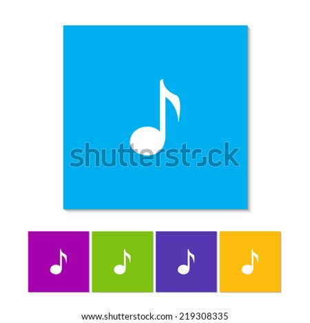 Music Icon. Orange, purple, magenta, violet, yellow, green and blue color buttons - stock vector