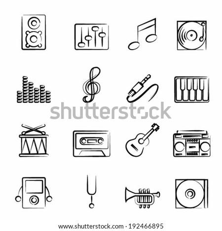 Music icon outline set vector illustration design elements. - stock vector