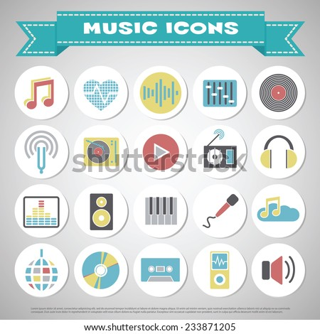 Music icon set color - stock vector