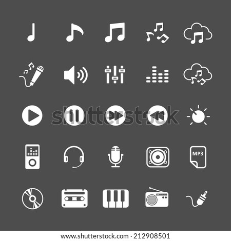 music icon set, each icon is a single object (compound path), vector eps10 - stock vector