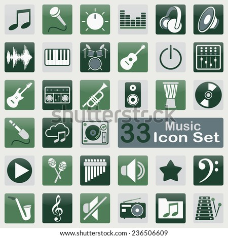 Music icon set for web and app design - stock vector