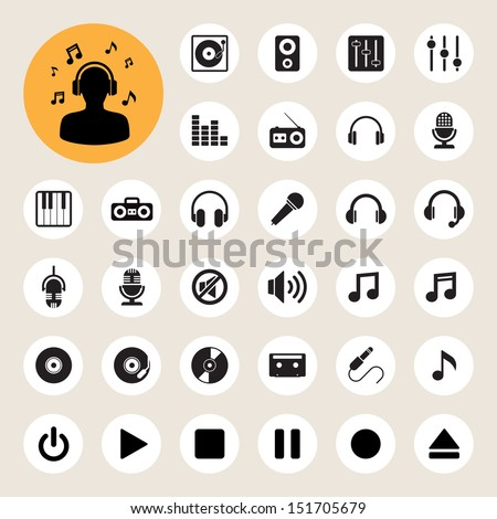 Music icon set. Illustration EPS10 - stock vector