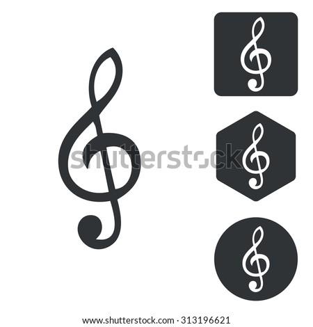 Music icon set, treble clef, monochrome, isolated on white - stock vector