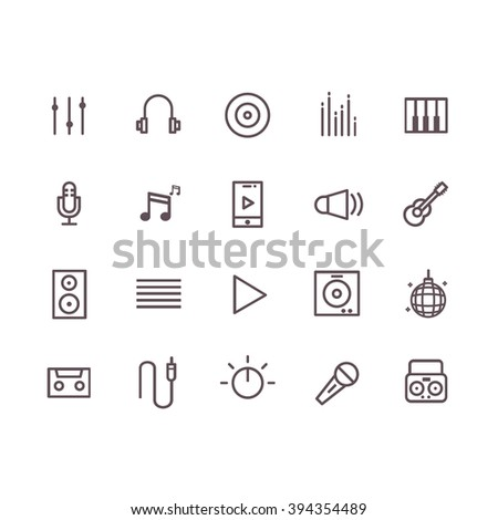 music icon set vector.line vector.