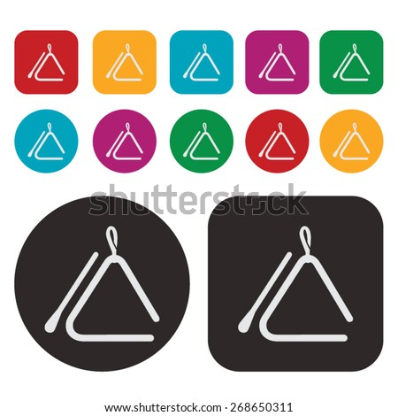Music icon / triangle instrument icon - stock vector