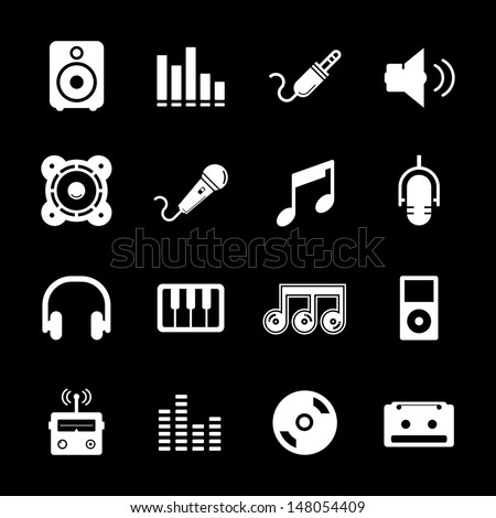 Music Icon - White - stock vector
