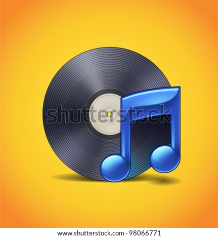 Music Icon With Vynil - stock vector