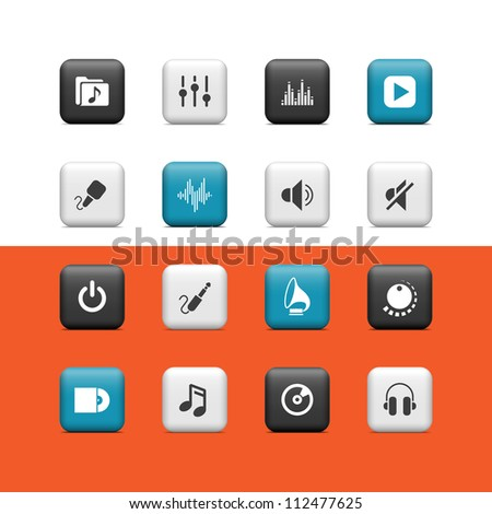 Music icons. Buttons - stock vector