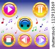 Music icons buttons set. play pause buttons. Vector illustration. - stock vector