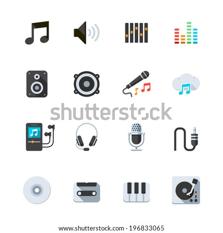 Music Icons : Flat Icon Set for Web and Mobile Application - stock vector