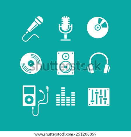 Music icons for app The modern design of simple lines - stock vector