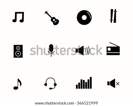 music icons isolated on white background. vector illustration. - stock vector