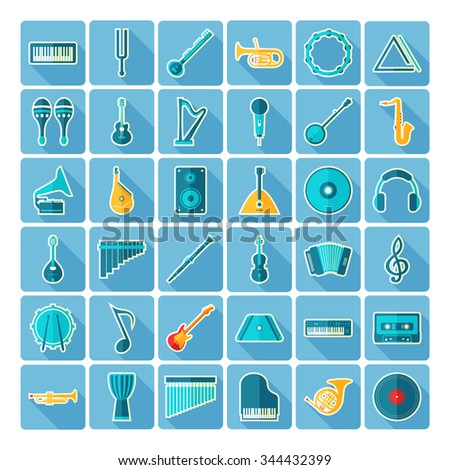 Music icons. Large icons set. Modern flat icons. Vector illustration of flat colored pictogram with long shadows. Sign and symbols for music. - stock vector
