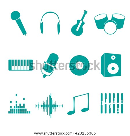 Music icons - mic, note, piano, guitar, drams and other