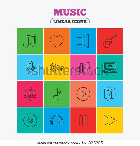 Music icons. Musical note, acoustic guitar and microphone. Notebook, dynamic and headphones symbols. Linear icons in colored squares. - stock vector