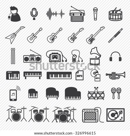 Music Icons set 1. illustration eps10 - stock vector