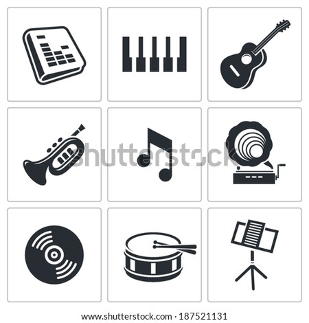 music icons set on white background - stock vector