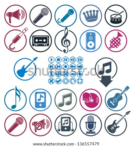 Music icons set, simple single color vector icons set for music and sound.