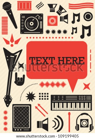 Music icons speech bubble card - stock vector