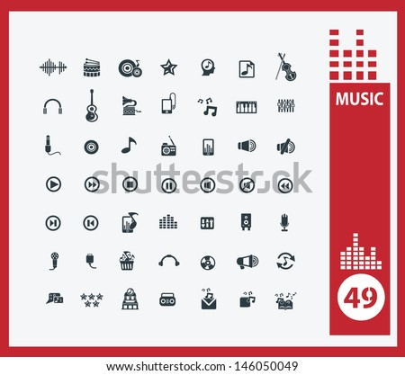Music icons,vector - stock vector