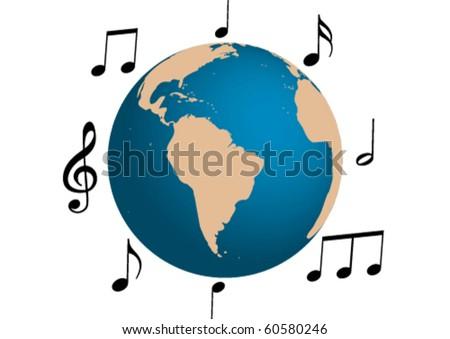 Music illustration around the world - stock vector