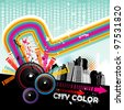 music in the city vector - stock vector