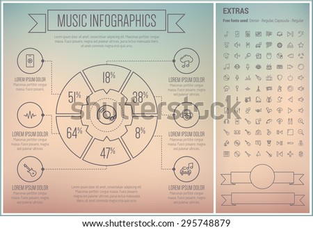 Music infographic template and elements. The template includes the following set of icons - speaker, play sign, music note, G-clef, piano, guitar tuner, saxophone and more. Modern minimalistic flat - stock vector