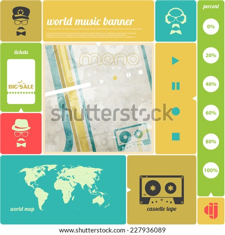 music infographics banner with cassette tape icon, world map, poster template. vector background design   - stock vector