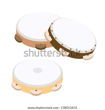 Music Instrument, An Illustration Collection of Three Colors of Wooden Tambourines in Retro Style  - stock vector