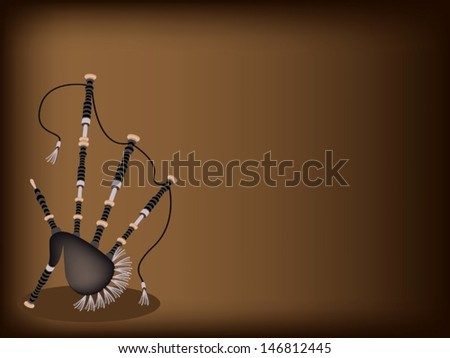 Music Instrument, An Illustration of Beautiful Scottish Bagpipe on Beautiful Dark Brown Background with Copy Space for Text Decorated   - stock vector