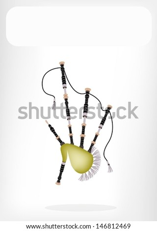 Music Instrument, An Illustration of Beautiful Scottish Bagpipe with White Label for Copy Space and Text Decorated  - stock vector