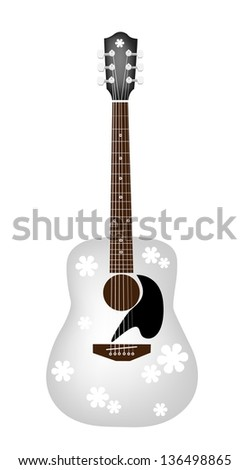 Music Instrument, An Illustration of Lovely Flower Patterns on A White Acoustic Guitar - stock vector