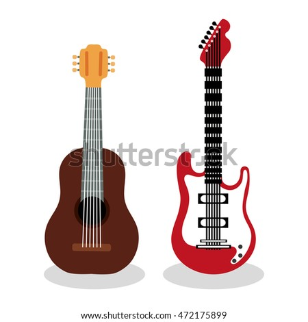 Music instrument concept represented by guitar icon over flat and isolated background