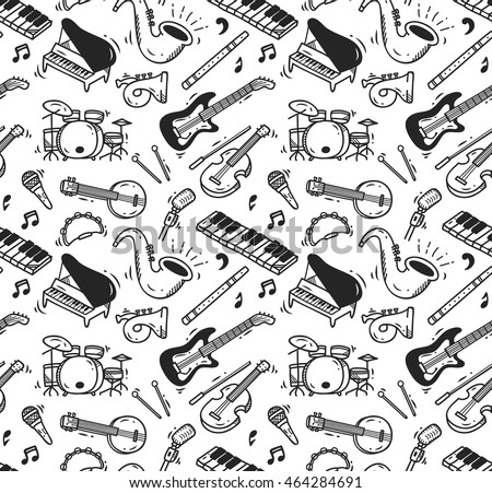 Music instrument doodle background