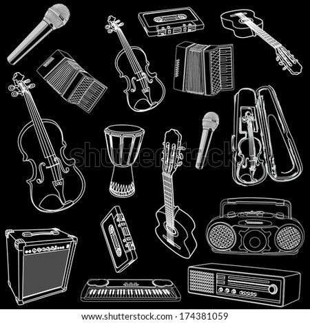 Music instrument vector icon collection - Set of white illustration isolated on black background. - stock vector