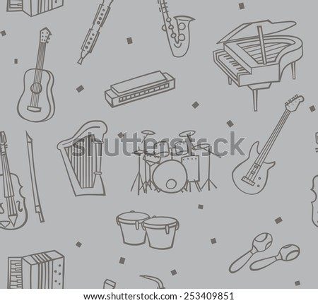 Music instruments cartoon vector seamless pattern