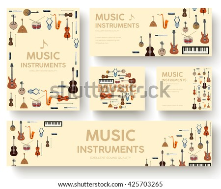 Music instruments circle infographics template concept. Icons design for your product or design, web and mobile applications. Vector flat with long shadow illustration background - stock vector