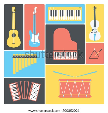 Music instruments collection / Flat music icons / Vector illustration set - stock vector