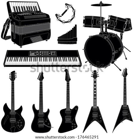 Music instruments collection - vector silhouette illustration  - stock vector