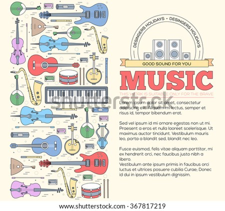Music instruments concept. Icons design for your product or design, web and mobile applications. Vector thin lines illustration background - stock vector