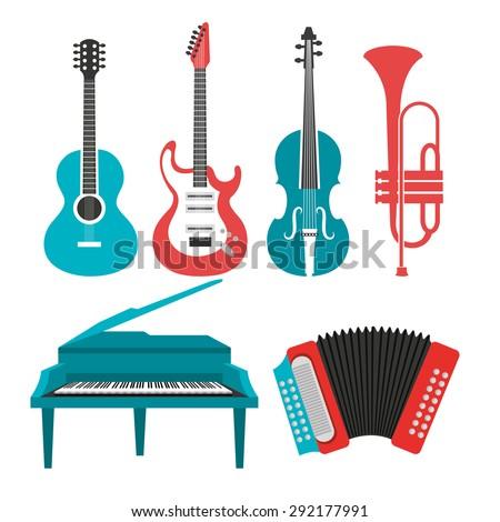 Music instruments design, vector illustration eps 10. - stock vector