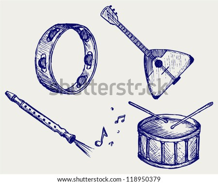 Music instruments. Doodle style - stock vector