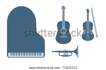 Music instruments icons set - stock vector